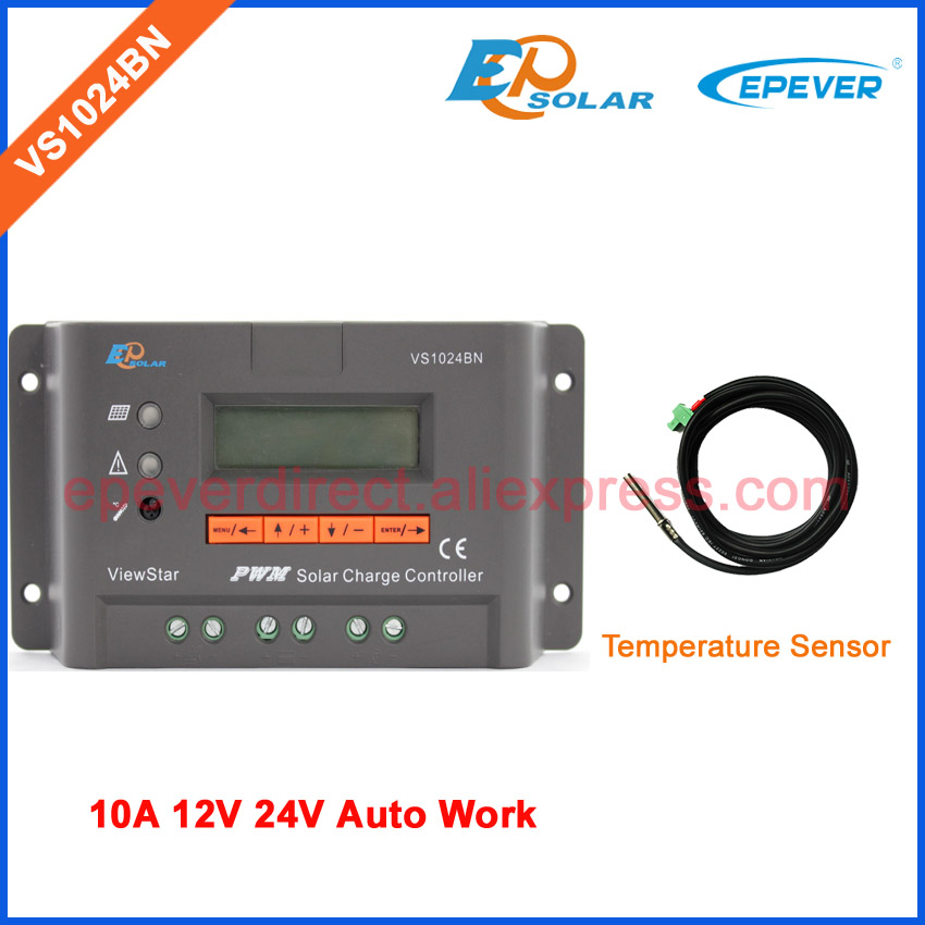 VS1024BN 10A PWM solar controller for 12V 24V cells system use with tempeature sensor EPEVER Regulator 10amps pwm controller for solar system use new series vs1024bn 12v 24v epever solar 24v regulator with ble box and mt50 remote meter