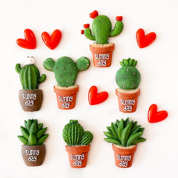 3D plantas cactus en maceta resina imán imanes de nevera hogar ...