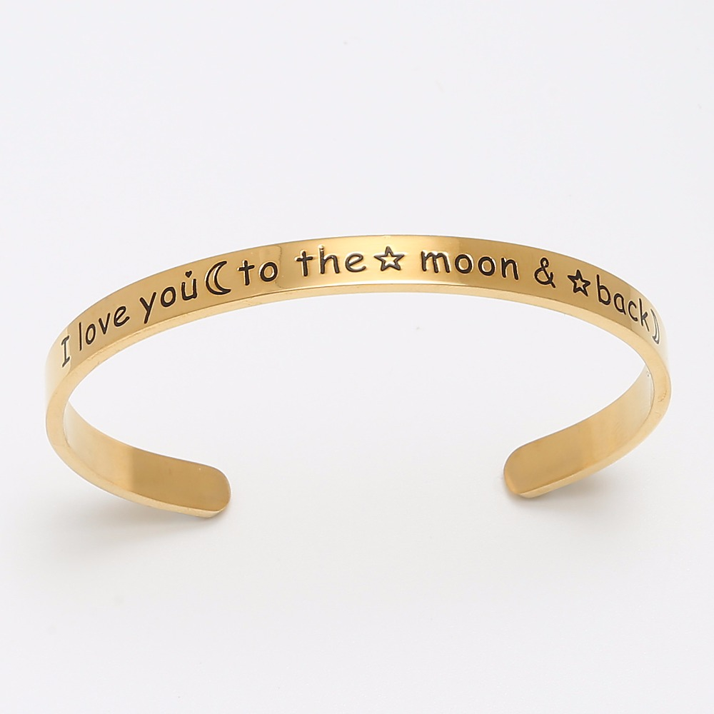 Mode Cinta Cuff Bracelet Rose Gold Stainless Steel Cuff Bangle Hadiah - Perhiasan fashion - Foto 3