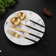 4Pcs/set Black Golden Dinner Set Stainless Steel Western Food Cutlery  Kitchen Metal Tableware Knife Fork Spoon Teaspoon