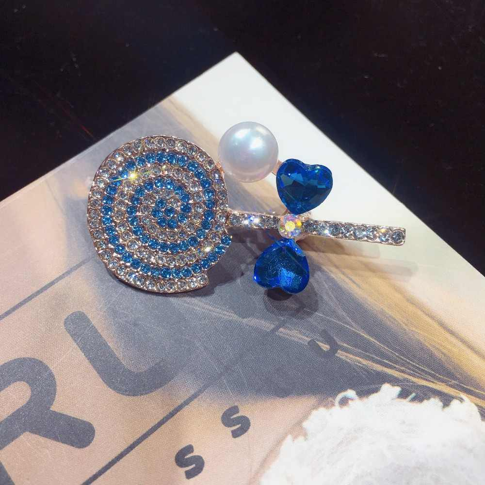 Broche de Nueva Perla SHDIYAYUN, precioso broche de piruleta, Pins simples para mujeres, joyería de perlas naturales de agua dulce, Dropshipping