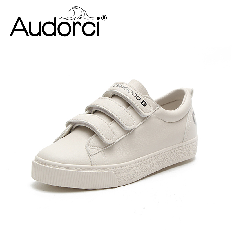 Audorci 2018 Spring PU Leather Sneakers Women White Shoes Fashion Lace-up Platform Shoes For woman Size 35-40