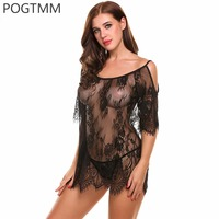 POGTMM Women Sexy Erotic Lingerie Slips Women Floral Lace Night Baby Doll Dress Female Plus Size