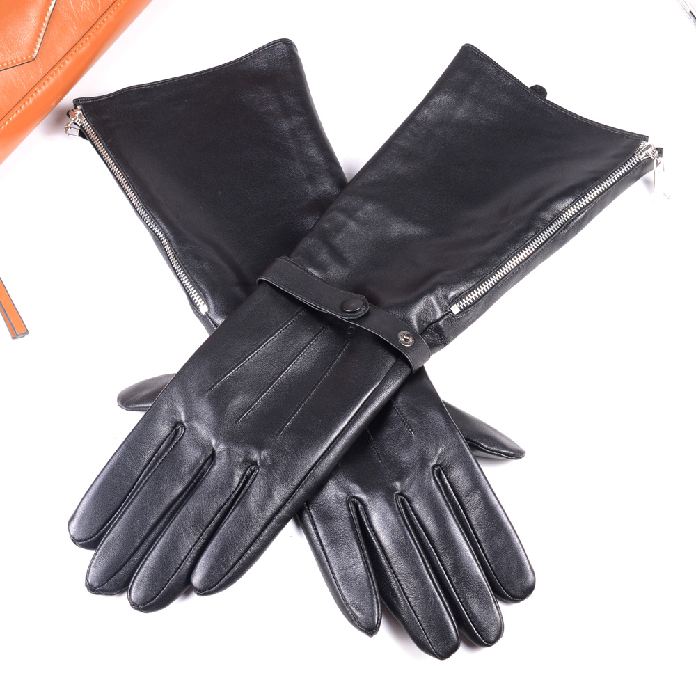 40cm Mens Black Sheepskin Real Leather Medieval Renaissance Long Cuff  Zipper Knight Gauntlet Elbow Gloves