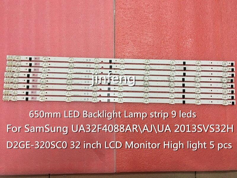 100% brand new 650mm LED Backlight Lamp strip 9 leds For SamSung 32inch TV UA32F4088AR 2013SVS32H D2GE-320SC0 High light 10 pcs 1 pcs lj64 03514a 2012sgs40 7030l 56 rev1 0 led tv backlight strip 56 led 493mm