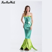 Halloween Sex Women Costume Party Dress Twinkle Mermaid Cosplay Cloth Mermaid Tail Strapless Dress