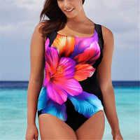 Bkini-bañador de talla grande para mujer, traje de baño Sexy de una pieza con estampado Floral, de realce, ropa de playa, 2018