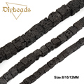 Cube Black Lava beads Natural Stone 8/10/12mm Square Shape Volcanic rock Loose bead Jewelry bracelet making DIY