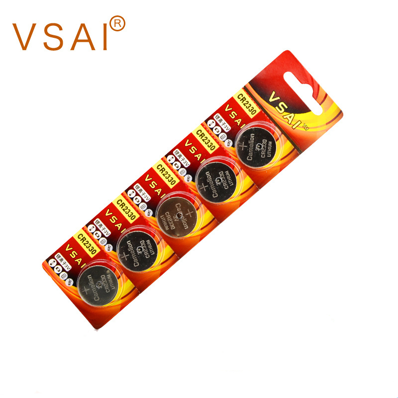 VSAI 5pcs 3V CR2330 Button Cell Battery Coin Batteries BR2330 ECR2330 For LED Flash image