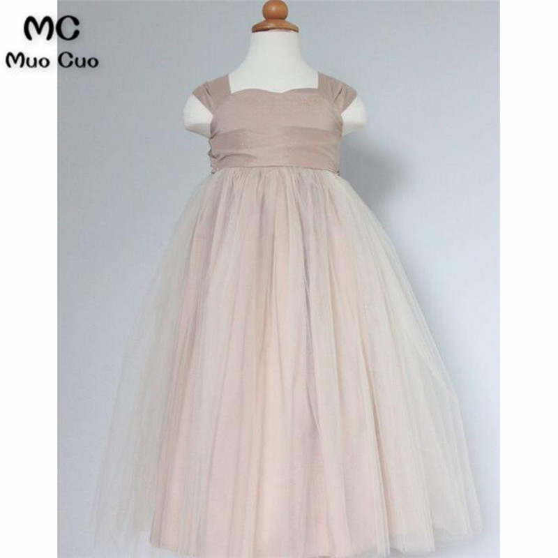 Lovely 2018 A-Line Gown first communion   dresses   for   girls   Bow Tulle kids evening gowns   flower     girl     dresses   for weddings