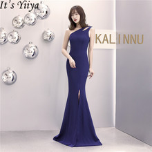 Its Yiiya Royal Blue evening dress zipper back Sleeveless long simple party gowns one-shoulder mermaid formal Prom dresses C082
