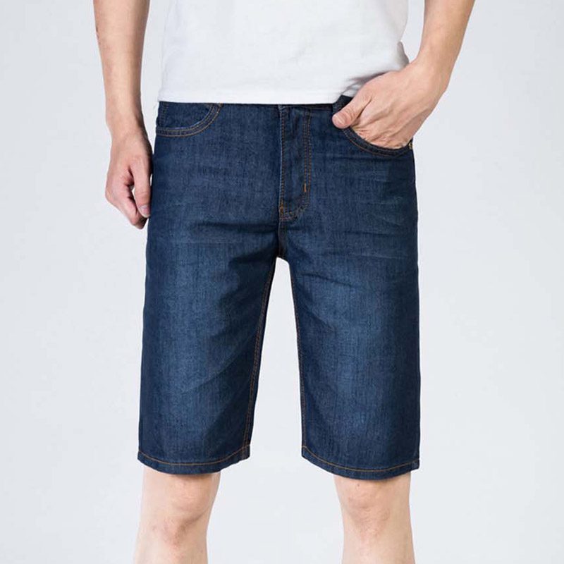 Men Jeans Casual Thin Straight Slim Fit Jeans Summer Fashion Blue Knee Length Male Trousers Jean For Men Lerbocors