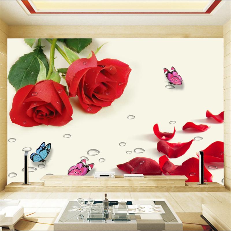 rote rose tapete-kaufen billigrote rose tapete partien aus china ... - Rosentapete Schlafzimmer