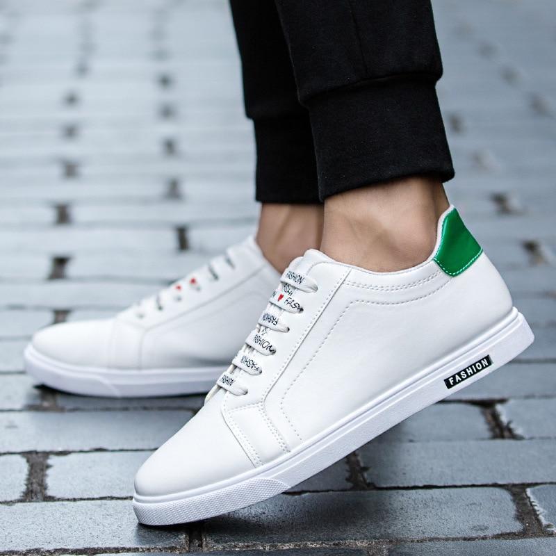 Fashion Men Casual Shoes PU Leather Sneakers Men Flats Vulcanized Shoes Outdoor Zapatos De Hombre Black Zapatillas