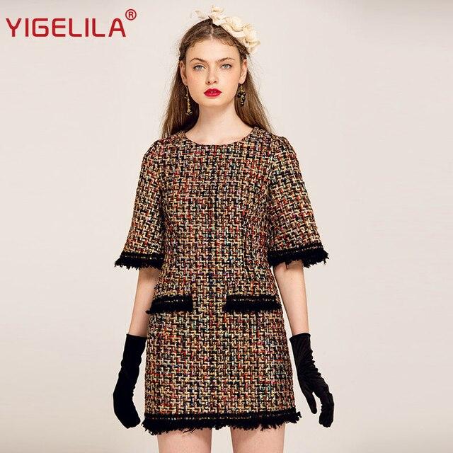 4da6ff843d5 Бренд YIGELILA 61268 последние новые для женщин мода Твид платье с карманом  кисточкой Половина рукава прямое