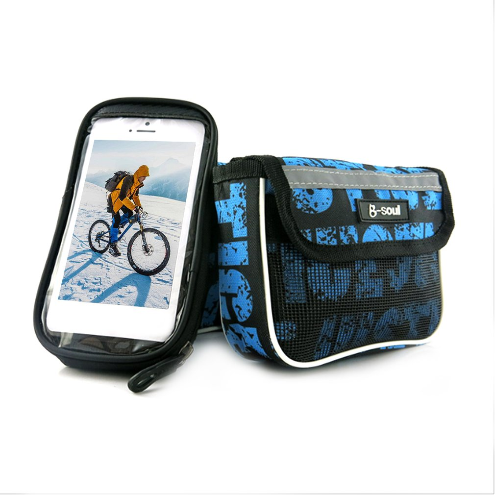B-SOUL Bicycle Front Top Tube Bag 2.5L Large Capacity for 5.5 Inch Mobile Phone Screen Touch Holder for Outdoor Riding Hot