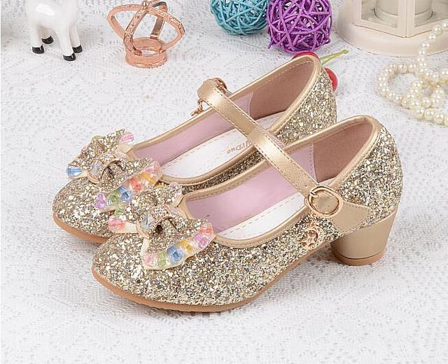 Girls princess shoes 2017 Hot sale spring autumn children's fashion breathable Rhinestone mid heel single leather shoes kids