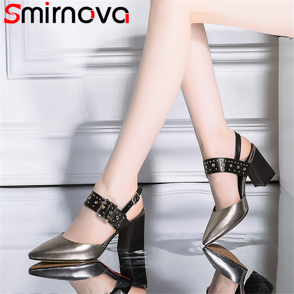Smirnova big size fashion summer new shoes woman pointed toe buckle elegant thick heel sandals women genuine leather shoes new women sandals low heel wedges summer casual single shoes woman sandal fashion soft sandals free shipping