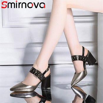 Smirnova duże rozmiary moda lato nowe buty kobieta szpiczasty nosek klamra eleganckie sandały na grubym obcasie kobiet prawdziwej skóry buty