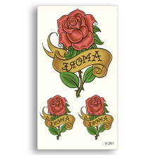 2PCS Waterproof Temporary Stickers Water Transfer Flash Fake Tattoo Sexy Body Art Old School Red Rose Love Amoretto Men Women