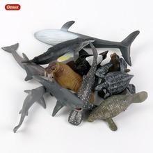 Oenux Mini tiburón marino de PVC para niños, modelo clásico de animales marinos, ballena, Tortuga, figuras de acción, juguete educativo