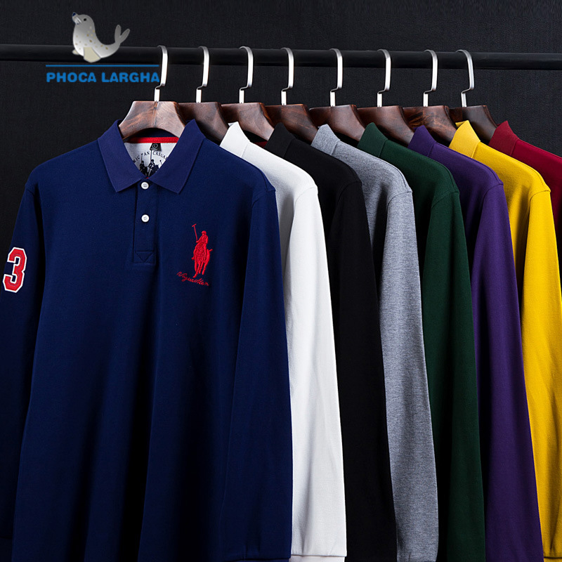 New Casual Men's Solid Color   Polo   Shirts Cotton 3D Embroidery Long sleeve   Polos   Mens Slim Fit Business Turn-down   Polo   Shirt Male