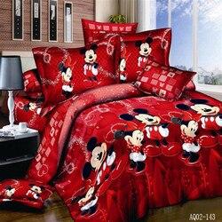 Juego de cama de Mickey Mouse, funda de edredón con dibujo de un solo rey y doble reina, funda de edredón, funda de almohada 3 uds, funda de cama de lino bonita