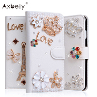 Luxury Stand Flip Litchi Leather Diamond Mirror Bowknot Flower Wallet Case For Apple Iphone 5 5S