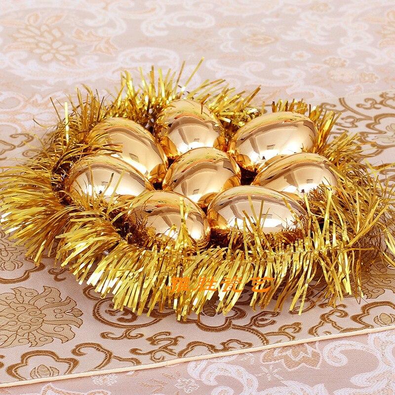 무료 배송 세라믹 골드 실버 행운의 달걀 크리스마스 장식 공예품 결혼 선물 홈 인테리어 거실 와인 캐비닛 tv 8 pcs-에서피규어 & 미니어처부터 홈 & 가든 의  그룹 1