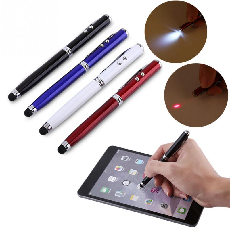 New 4-in-1 Black Stylus Light Ball Point Pen Laser Pointer for Capacitive Touch