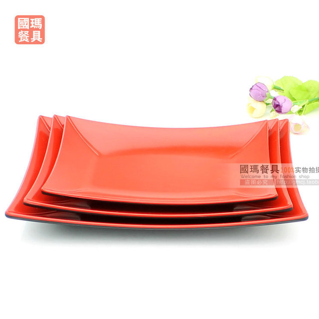 8INCH Chinese Designer Wedding Party Square Melamine Crockery Dinning Plates Dishes Restaurant Black Red Plastic Buffet  sc 1 st  AliExpress.com & 8INCH Chinese Designer Wedding Party Square Melamine Crockery ...