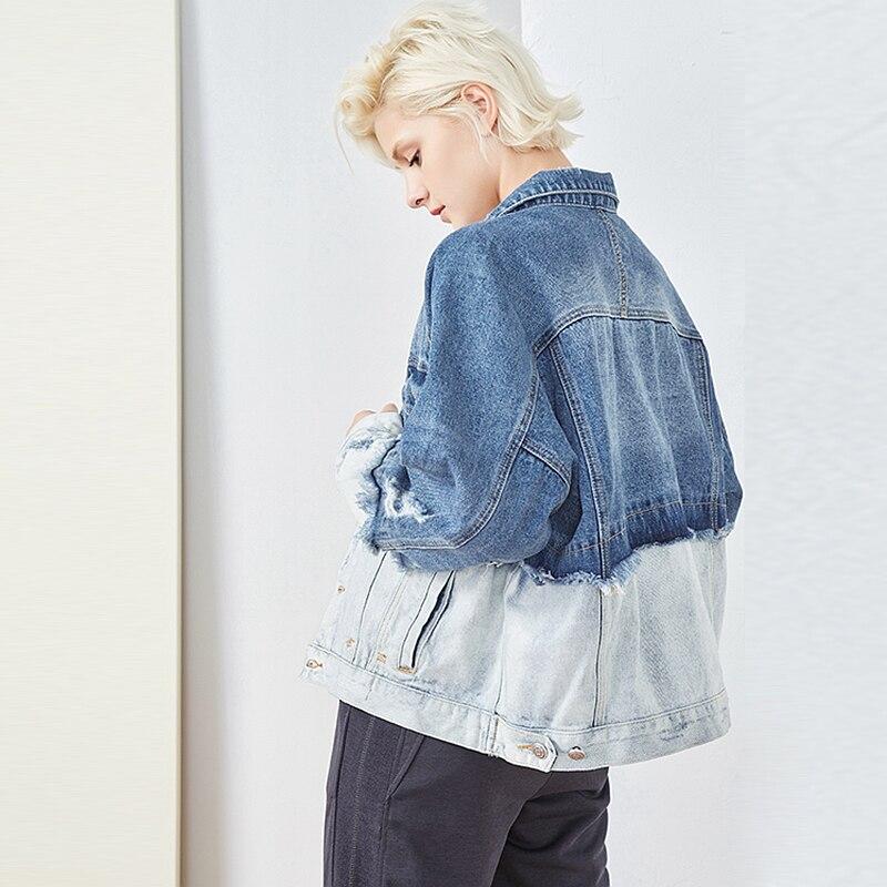 Nouveau 2018 Unique Mode Lâche Poitrine Conception Femmes Patchwork Poches Baisse Veste Style Manteau épaule Longue Denim Vintage Multi Manches De qBwUxZC