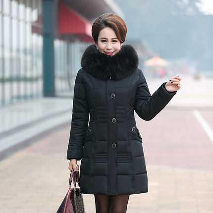 Winter Parka Women 2016 New Middle Age Women Fur Hooded Thicken Cotton Padded Coats Mother Slim Long Jackets L-4XL A4396 2017 slim fit fashion mens fur parka mens jackets and coats black blue jaquetas masculina inverno cotton padded parka homme