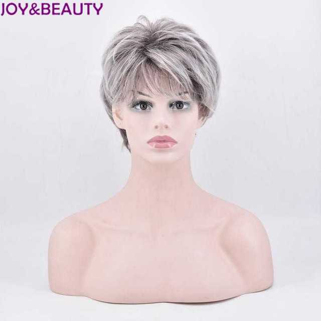 JOY&BEAUTY Gray White Mix Women Short Straight Syntheic Hair Wig High Temperature Fiber Full wigs