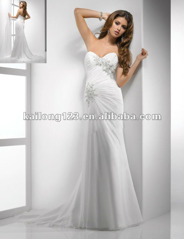 e32a172eab966 Slim Line Sweetheart Strapless Chapel Train Ruched Draped Crystal Beaded  Lace On Chiffon Wedding Dresses
