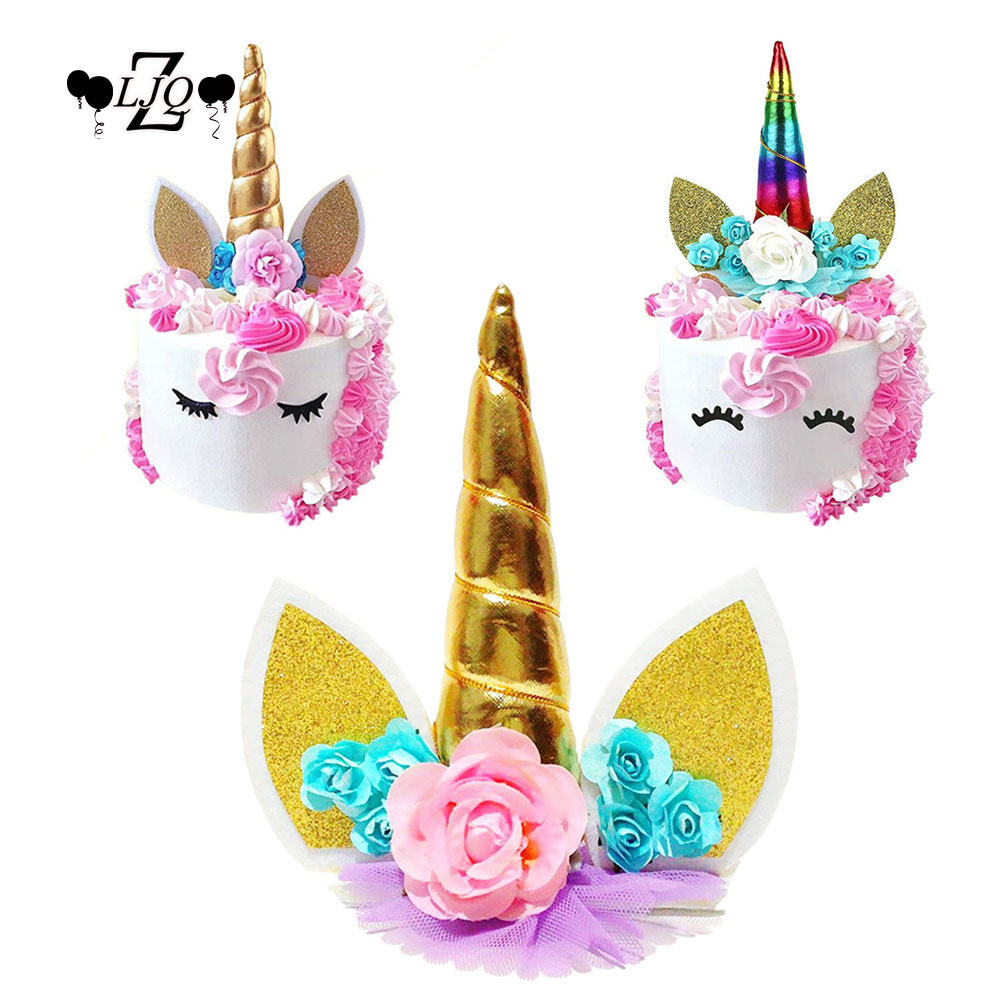 ZLJQ 1pcs Glitter 3D Unicorn Horns Cake Topper for Kids Cake Birthday Baby Shower Unicorn Party Wedding Decoration S