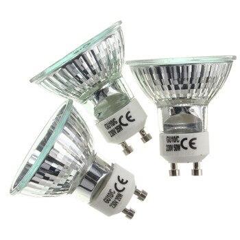 Bombilla halógena GU10, 20W, 35W, 50W, Bombilla de gran brillo, 2800K, luces de cristal transparente de alta eficiencia, bombillas de luz blanca cálida para el hogar