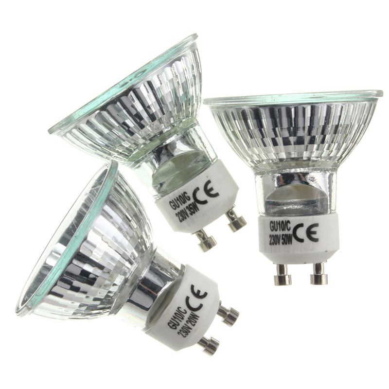 Halogen Bulb GU10 20W 35W 50W Lamp Bulb High Bright 2800K High Efficiency Clear Glass Lights Warm White Home Light Bulbs Lightin