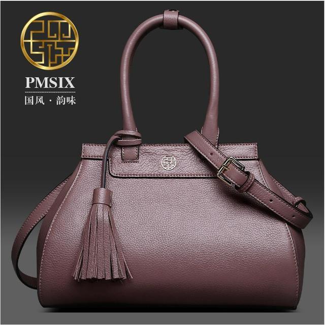 2017 New Pmsix Superior cowhide fashion mother  women bag genuine leather handbags tote shoulder bag women's bag