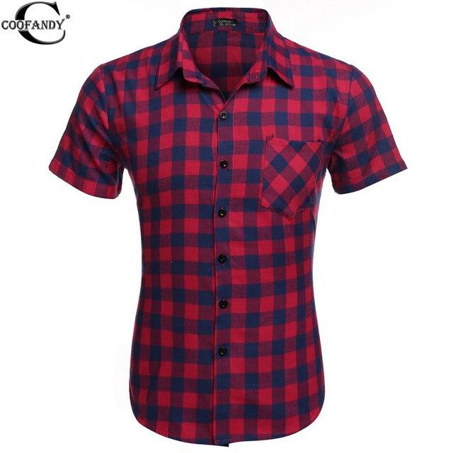 8569986ae COOFANDY Hot Moda masculina Casual Manga Curta Camisas Xadrez Masculina  Camisa Masculina Social 6 Colosr EUA
