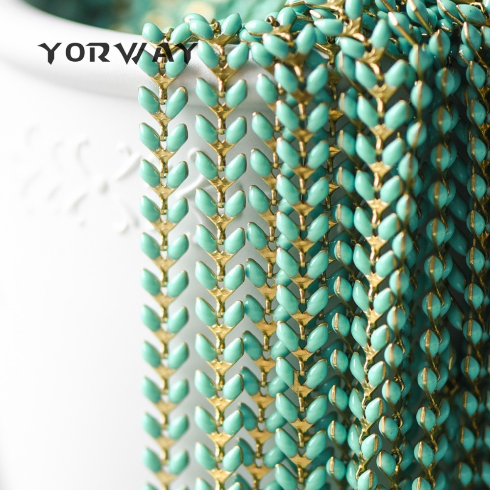 Emaille Messing Pfeil Kette 6mm, Flache Chevron Kette, Fischgräten Fisch knochen Designer Kette, 11 farben Erhältlich (# LK-048)