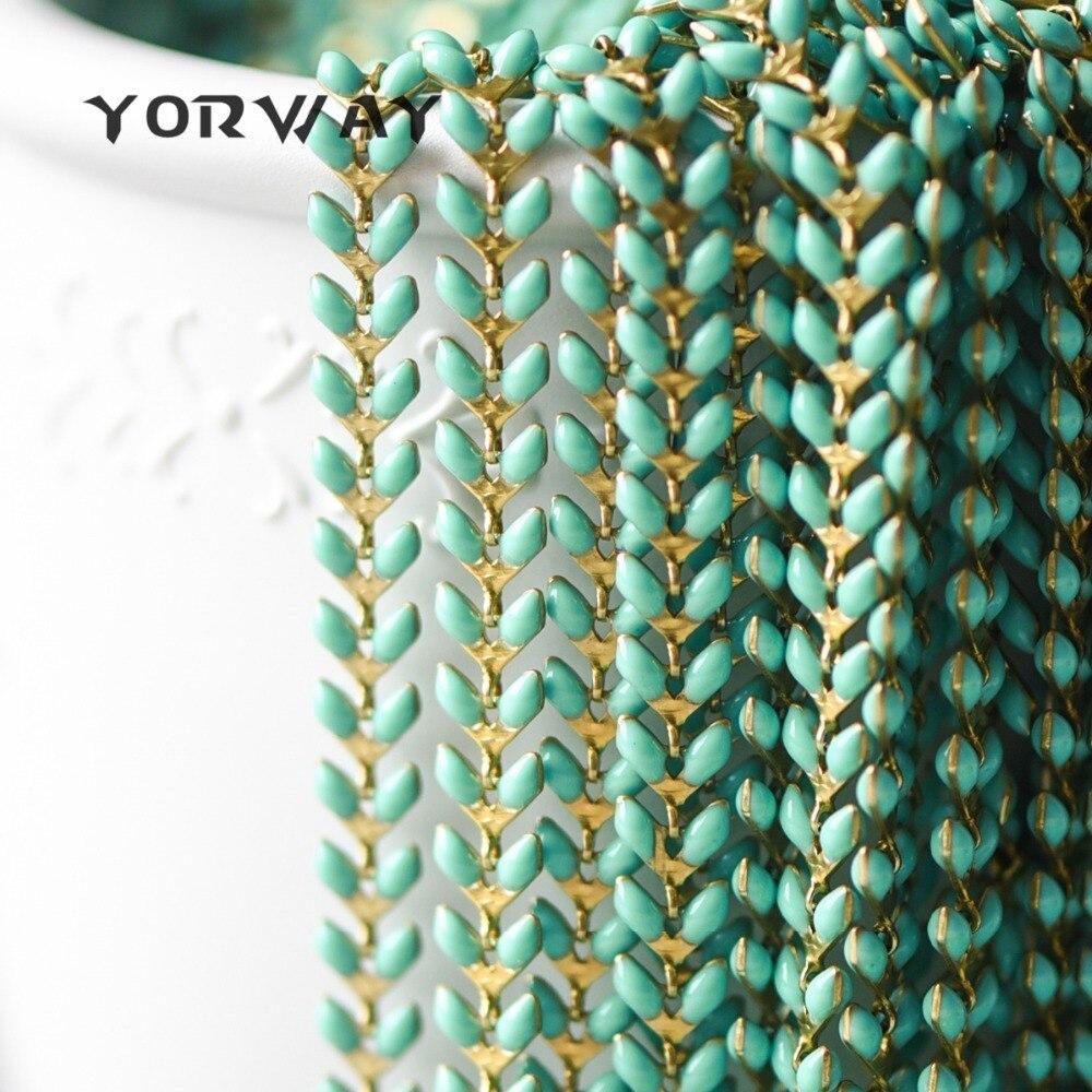 Emaille Messing Pfeil Kette 6mm, Flache Chevron Kette, Fischgräten Fisch knochen Designer Kette, 14 farben Erhältlich (# LK-048)