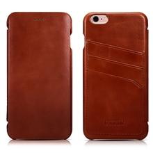 Original ICARER Card Holder Genuine Leather Case For iPhone6 6s Plus 5.5inch Vintage Flip Cover With Card Slot Back Case