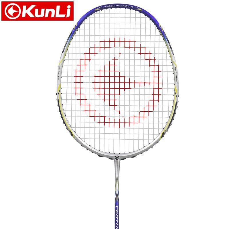 Raquette de badminton officielle KUNLI originale 5U 80g plume K310 raquette de plume professionnelle en carbone Ultra légère raquette d'attaque