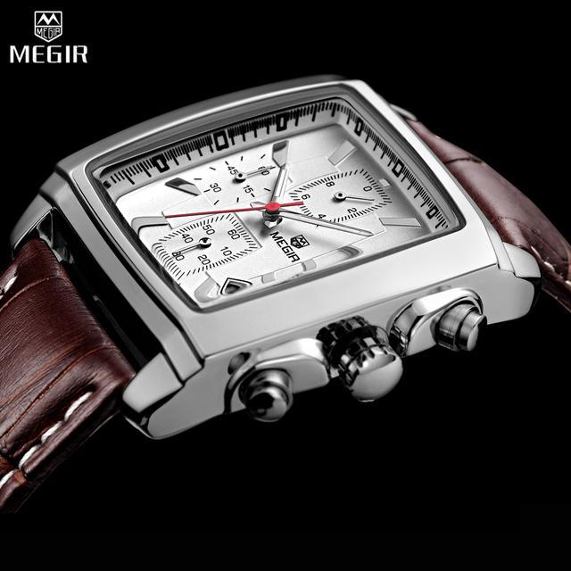 Megir relógio masculino relojes para hombre de primeras marcas de lujo de los hombres del deporte militar luminoso reloj cronógrafo de cuarzo reloj de cuero