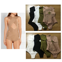GWENDLYANNA Women Celebrity Black White Khaki Rayon Backless Bandage Sexy