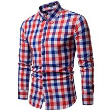 Plaid Blouse Mens clothing Fashion Casual Dress Shirts Long sleeve Shirt Slim fit New