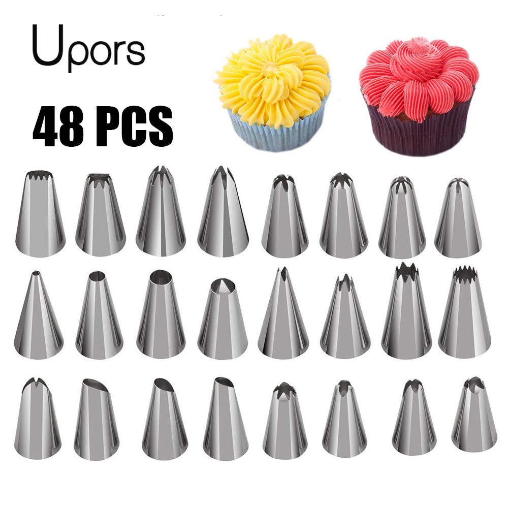 UPORS 48Pcs Professional Pastry Nozzles Icing Nozzles Stainless Steel Metal Cream Russian Piping Tips Cake Decorating Tools