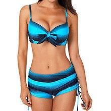 fa2e32f85654d9 Zwemmen Kostuum Vrouwen Plus Size Tweedelige Badpak Gestreepte Tankini Push  Up Swim Beachwear Crop Top Biquini