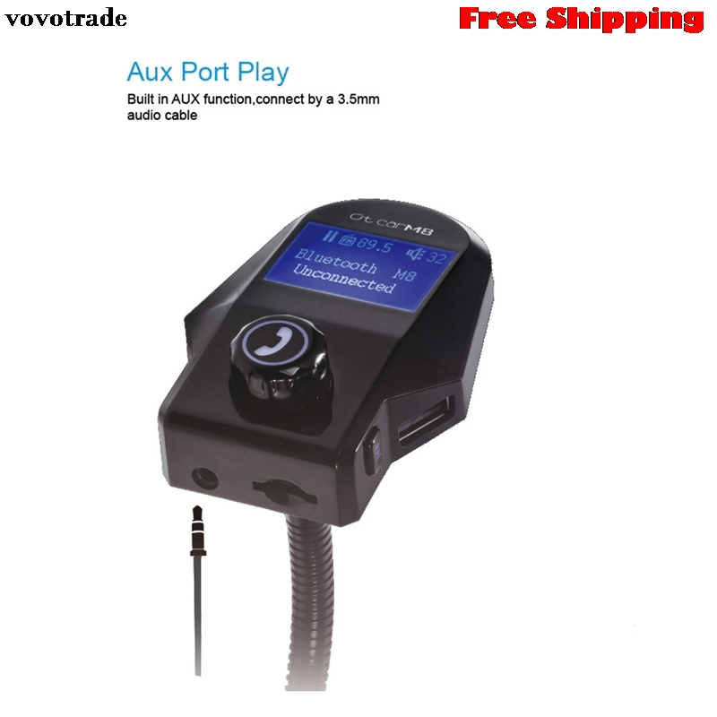 vovotrade 2017 NEW Handsfree Wireless Bluetooth FM Transmitter LCD MP3 Player USB Charger Handsfree Car Kit Mic Free Shipping